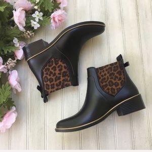Kate Spade Sedgwick Cheetah Print Rain Ankle Boots